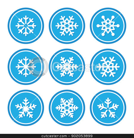 Snowflakes icons as retro labels stock vector clipart, Winter christmas icons set- snowflakes by Agnieszka Bernacka