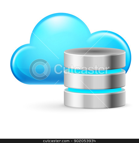 Cloud computing stock photo, Cloud computing and Database. Illustration on white background by dvarg