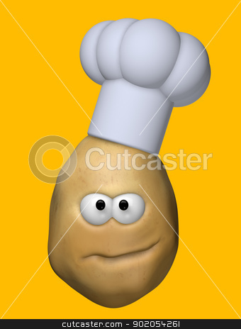 potato cook stock photo, funny potato with cook hat - 3d illustration by J?