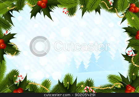 Christmas Card Template stock vector clipart, Christmas Card Template with Fir-Trees and Decorations by Vadym Nechyporenko
