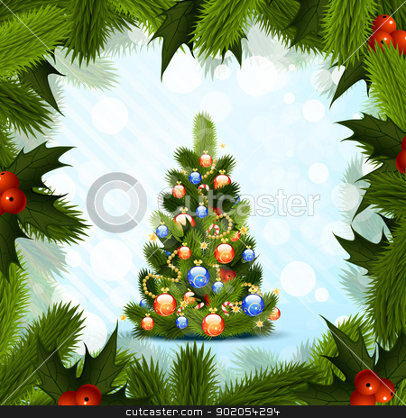 Christmas Tree stock vector clipart, Christmas Tree with Fir Frame and Mistletoe by Vadym Nechyporenko