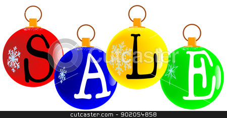 Christmas Sale Decoration. stock vector clipart, A red christmas decorative ball with the letters s, a, l, e,  for sale. by Kotto