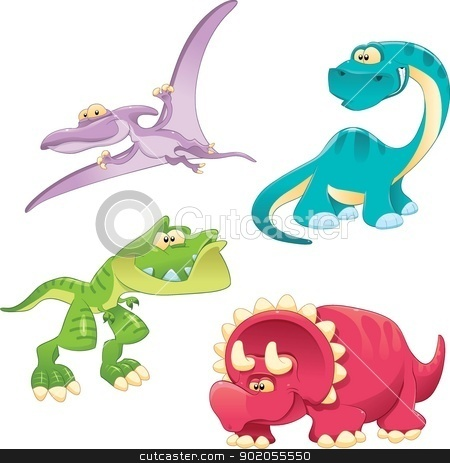 Dinosaurs Family. stock vector clipart, Dinosaurs Family. Funny cartoon and vector characters by ddraw