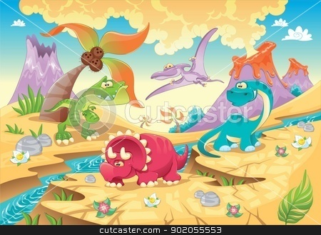 Dinosaurs Family with background. stock vector clipart, Dinosaurs Family with background. Funny cartoon and vector illustration by ddraw