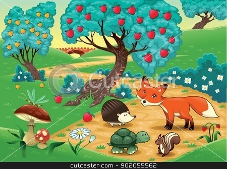 Animals in the wood. stock vector clipart, Animals in the wood. Funny cartoon and vector illustration by ddraw