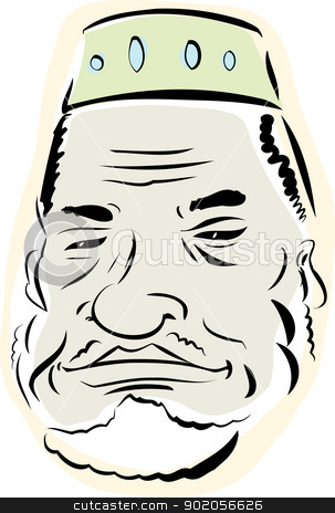 Senior Muslim Man stock vector clipart, Senior Muslim man with beard over white background by Eric Basir