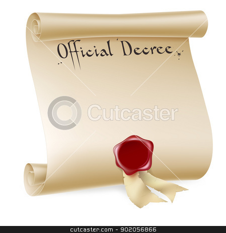 Official Decree Scroll With Red Wax Seal stock vector clipart, A background design element of an antique historical paper scroll document or decree with red wax seal. by Christos Georghiou