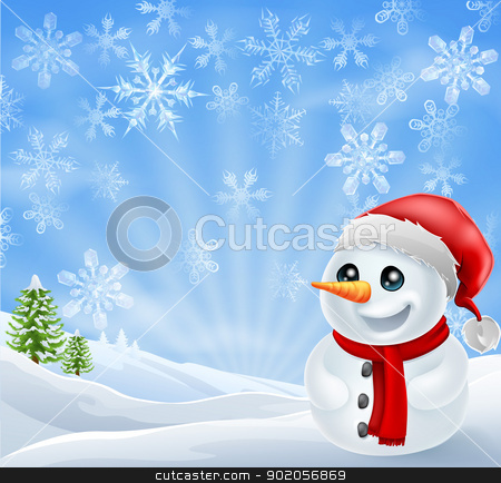 Christmas Snowman in snowy scene stock vector clipart, A happy Christmas Snowman in snowy scene with snow flakes by Christos Georghiou
