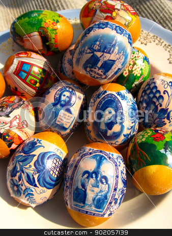 nice Easter eggs with images stock photo, Easter eggs with Jesus Christ's image and Divine mother by Alexander Matvienko