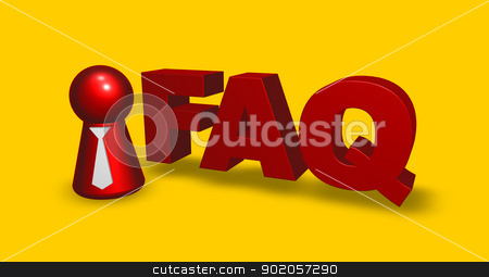 faq tag stock photo, simple character with tie and the word faq - 3d illustration by J?