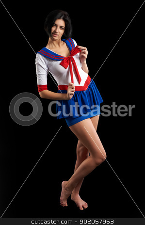 Sexy sailor stock photo, Young beautiful woman in sailor costume. Isolated on black by Aikon