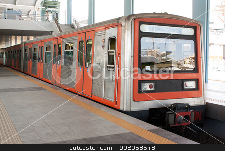 Underground station in Piraeus area, Athens, Greece. stock photo, Underground station in Piraeus area, Athens, Greece and train running from Pireaus to Monastiraki. by Brigida Soriano