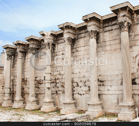 Hadrian Library in the Roman Forum of Athens, Greece stock photo, Corinthian columns of the ruins of the Hadrian Library in the Roman Forum of Athens, Greece. by Brigida Soriano
