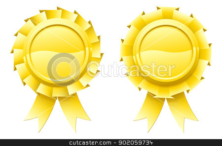 Blank gold rosettes stock vector clipart, Illustration of two blank gold rosettes with lots of copy space in the centre for your text by Christos Georghiou
