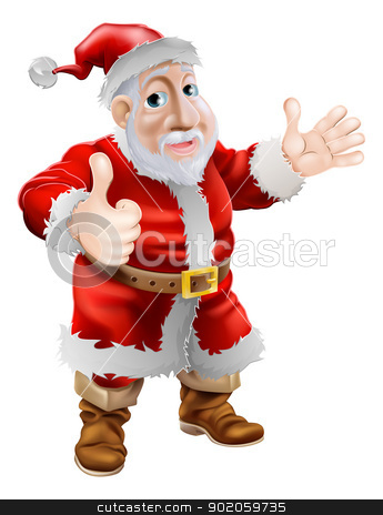 Thumbs up cartoon Santa stock vector clipart, Illustration of a happy cartoon Christmas Santa Claus giving a thumbs up with his hand by Christos Georghiou