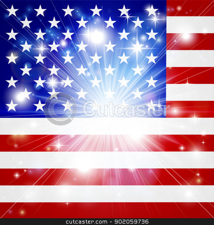 American flag background stock vector clipart, Flag of America background with pyrotechnic or light burst and copy space in the centre by Christos Georghiou