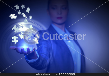 puzzle design stock photo, Illustration with jigsaw puzzle pieces flying and business person by Sergey Nivens