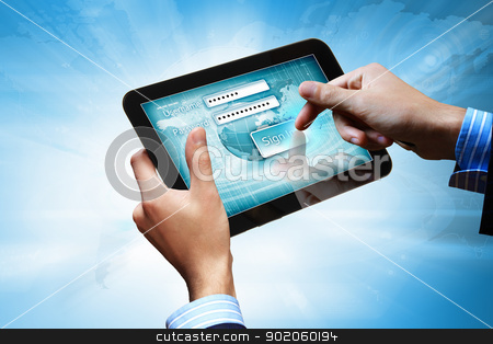 login with email and password stock photo, Login with email and password on computer screen by Sergey Nivens