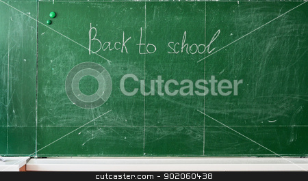 Back To School stock photo, Green chalk blackboard written Back To School with white chalk by olinchuk