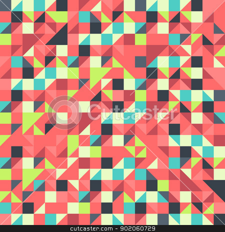 Orange and Blue pattern stock vector clipart, Geometric seamless pattern with triangles and squares by Vitezslav Valka