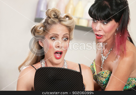 Shocked at Bad Hairdo stock photo, Two pretty women looking at a bad hairdo by Scott Griessel