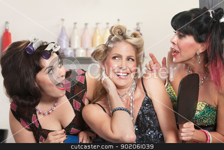 Happy Ladies in Hair Salon stock photo, Group of three happy women talking in hair salon by Scott Griessel
