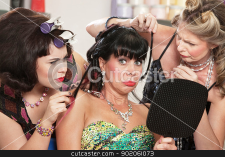 Woman with Bad Haircut and Friends stock photo, Two sympathetic friends and lady with bad haircut by Scott Griessel