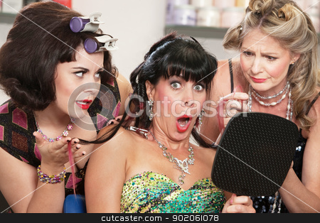 Shocked Female in Hair Salon stock photo, Shocked mature woman with sympathetic friends in hair salon by Scott Griessel