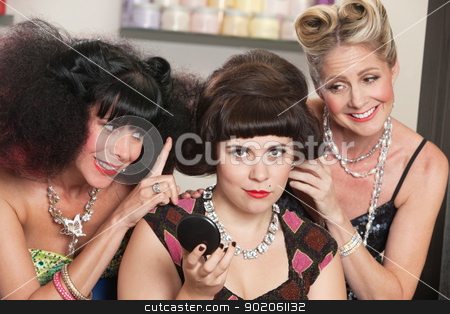 Trio of Women in Hair Salon stock photo, Two pretty women smiling at young lady in hair salon by Scott Griessel