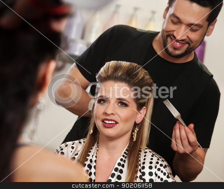 Smiling Woman with Hairdresser stock photo, Happy attractive client with smiling hair stylist by Scott Griessel