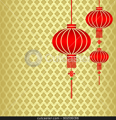 Chinese New Year Red Lantern Background stock vector clipart, Red Chinese Lantern on Seamless Pattern Background by meikis