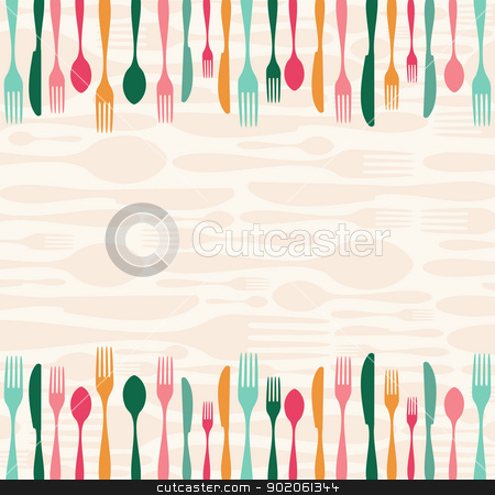 Silverware seamless pattern stock vector clipart, Multicolored silverware seamless pattern background. Vector illustration layered for easy manipulation and custom coloring. by Cienpies Design