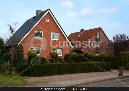 Houses in Pinneberg stock photo, Street with german houses in Pinneberg,Hamburg by borojoint