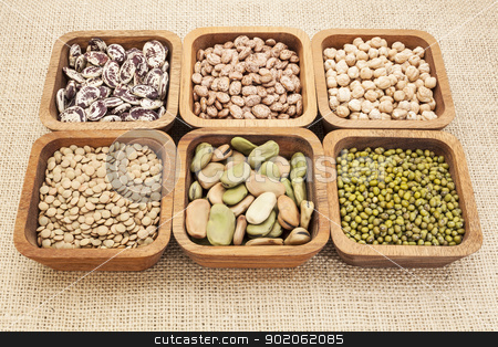 bean and lentil set stock photo, a collection of bean and lentil in wooden square bowls by Marek Uliasz