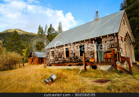 Old Abandoned House stock photo, The decaying remains of an old abandoned home in the forest  located in the  California Sierra mountains. by Lynn Bendickson