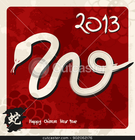 Chinese New Year of the Snake stock vector clipart, 2013 Chinese New Year of the Snake sketch illustration over red background. Vector illustration layered for easy manipulation and custom coloring. by Cienpies Design