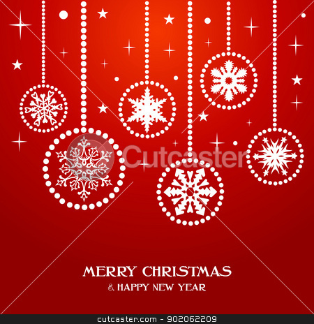 Merry Christmas snowflakes baubles stock vector clipart, Merry Christmas and Happy new year snowflakes baubles over red background. Vector illustration layered for easy manipulation and custom coloring. by Cienpies Design