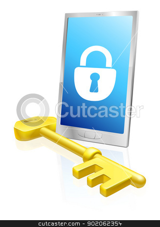 Mobile phone lock and key stock vector clipart, Illustration of a mobile phone with lock symbol on the screen and large golden key. A security concept. by Christos Georghiou