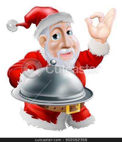 Santa with food stock vector clipart, A cartoon happy Santa  doing a chef's perfect sign with his hand and holding a covered metal plate of food by Christos Georghiou
