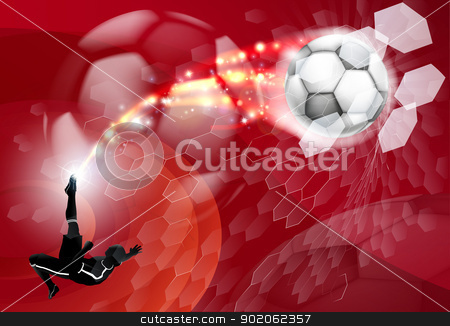 Abstract Soccer Sport Background stock vector clipart, An abstract red soccer sport background with detailed silhouette of a soccer player kicking a soccer ball, smashing it through an abstract goal net  by Christos Georghiou