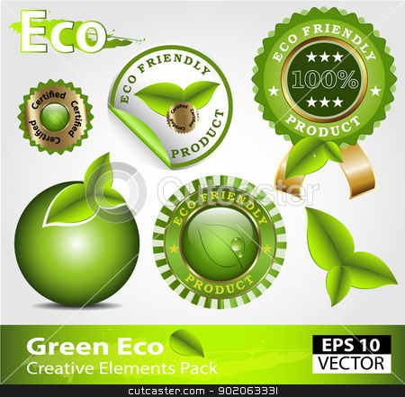 Green ecofriendly design elements stock vector clipart, 	Green ecofriendly design elements creative pack by Vladimir Repka