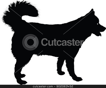 Husky stock vector clipart, A profile of a  Husky dog in black silhouette.  by Maria Bell