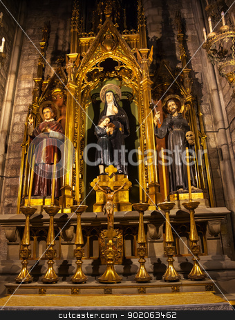 Saints Joaquima de Vedruna, Francis of Assisi, Anthoy M Claret S stock photo, Saints Joaquima de Vedruna, Francis of Assisi, Anthony M. Claret, St Maria del Pi, Saint Mary of Pine Tree, Barcelona, Spain. St Joaquima, founder of Carmelit Sisters, and Saint Mary Claret was the confessor to Queen Isabella II of Spain.  Saint Maria del Pi, Saint Mary of the Pine Tree, church in Barceolona Spain, founded in 987 or earlier. by William Perry