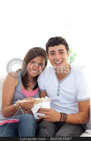 Couple of teenagers eating pasta with copy-space stock photo, Couple of teenagers eating pasta at home on the sofa with copy-space by Wavebreak Media