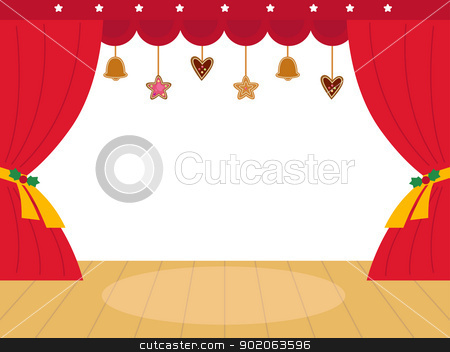 Colorful christmas Theatre podium with decoration Vector ...