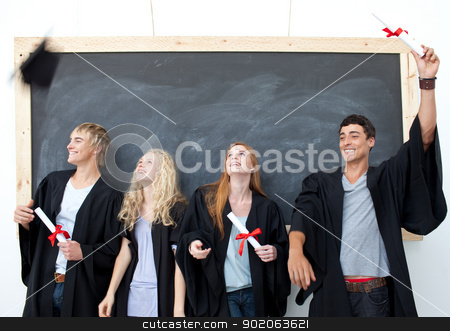 Group of people celebrating after Graduation stock photo, Happy group of people celebrating after Graduation by Wavebreak Media