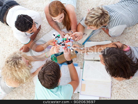 Teenagers studying Science on the floor stock photo, Teenagers studying Science on the floor in a house by Wavebreak Media