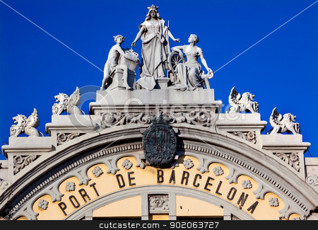 Port Authority Building Statues Barcelona Spain stock photo, Port Authority Building of Barcelona Building in Barcelona, Spain.  At one end of the La Rambla, the building was built in 1903 and is considered an historical and artistic architectural monument in Barcelona. by William Perry