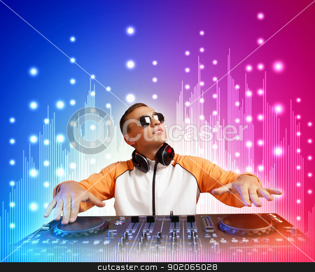 dj and mixer stock photo, DJ with a mixer equipment to control sound and play music by Sergey Nivens