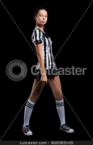 Sexy Soccer Referee stock photo, Beautiful Soccer Referee with whistle. Isolated on black by Aikon